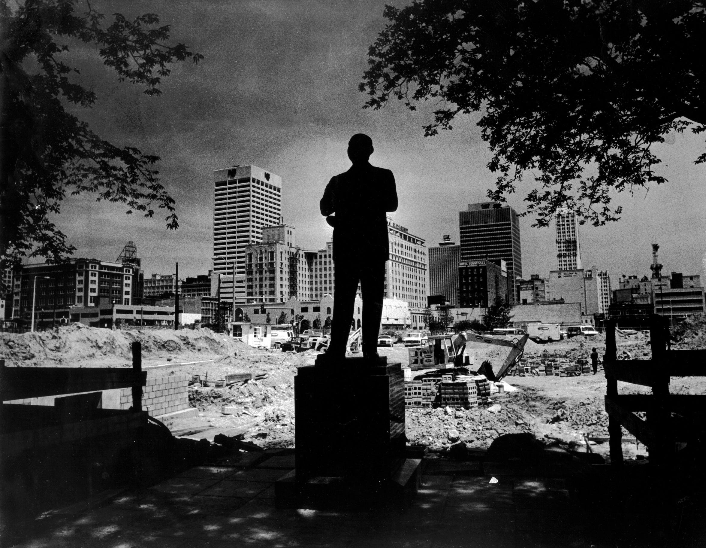 The statue of W.C. Handy is surrounded by construction of a stage and seating area in Handy Park on Beale Street on May 10, 1982. The city launched the Beale Street Historic District in 1983 with $13.5 million in city, federal and private funds to recapture the glory of the world renowned street that is recognized as the home of the blues and the one-time center of black culture in Memphis.