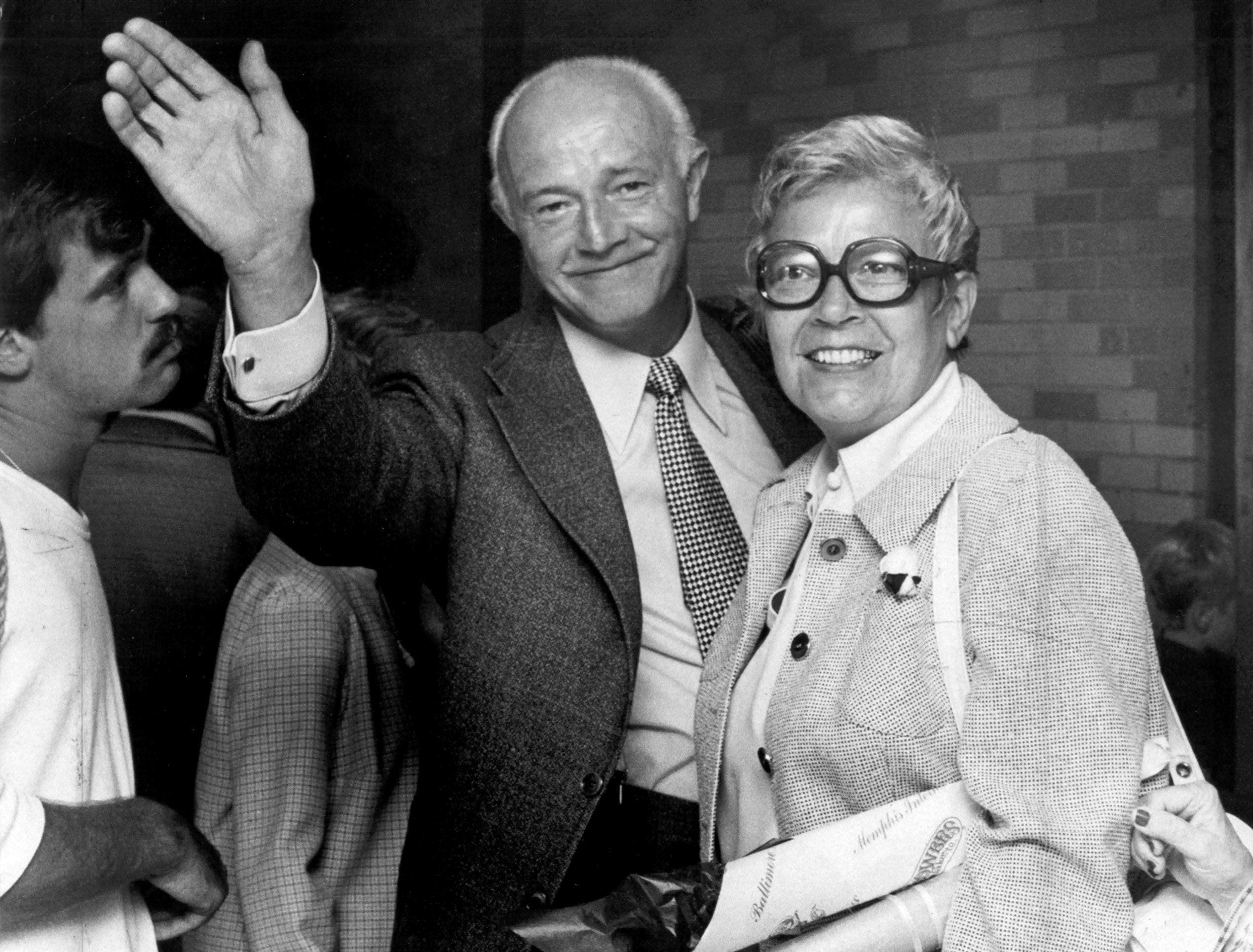 Edwin Pelz waves goodbye to Memphis on 27 June 1975 after he and his wife, Elizabeth, had spent three weeks visiting the Bluff City. Pelz, who had been a German prisoner of war during World War II, spent his time as a POW working at the Memphis Army Depot from 1944 until 1946. His return trip to Memphis was made possible by local donations after The Commercial Appeal ran a series of articles in which Pelz told of his affection for Memphis and the people of the Mid-South since his days as a POW.