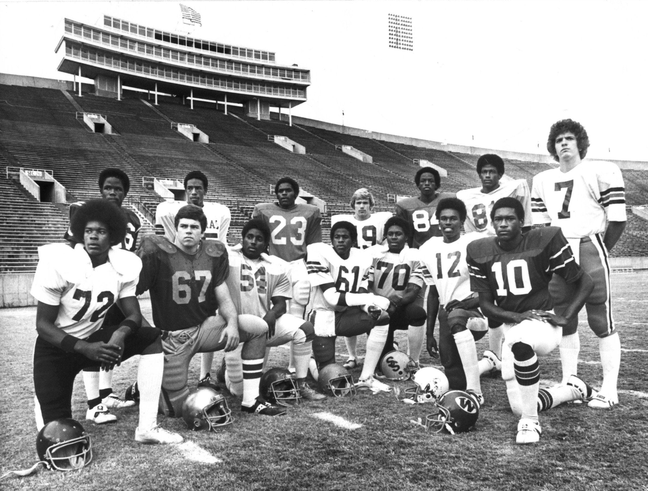 The All MIAA Offensive team, as pictured in Nov 1978 at Memphis Memorial Stadium includes: (Front Row From Left): Ernest Robinson, Mitchell; Tom Dorian, CBHS; Ivan Bowen, Westwood; Johnny Walker, Ridgeway; Robert Cole, South Side; Winston Ford, Carver and Orlando Brown, Westside. (Back Row From Left): Jeff Ware, Douglass; Johnny Collins, Central; Alonzo Bolden, Hamilton; Ricky Meadows, Ridgeway; Terry Moore, Treadwell; Nathan Cole, Westwood and Stan Weaver, Ridgeway.