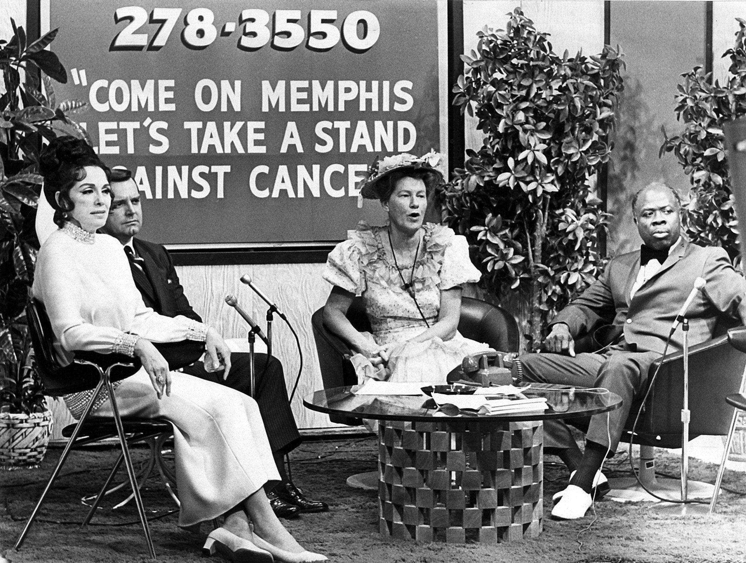 Host celebrities kept the action going between acts and auctions on Aug. 28, 1970, during the 10-hour telethon at WMC-TV to raise $75,000 for the Memphis and Shelby County chapter of the American Cancer Society. Guest hosts included, from left, Marguerite Piazza, 1971 National Cancer Crusade chairman, William B. Tanner, president of Pepper and Tanner Inc., Minnie Pearl and Rufus Thomas.