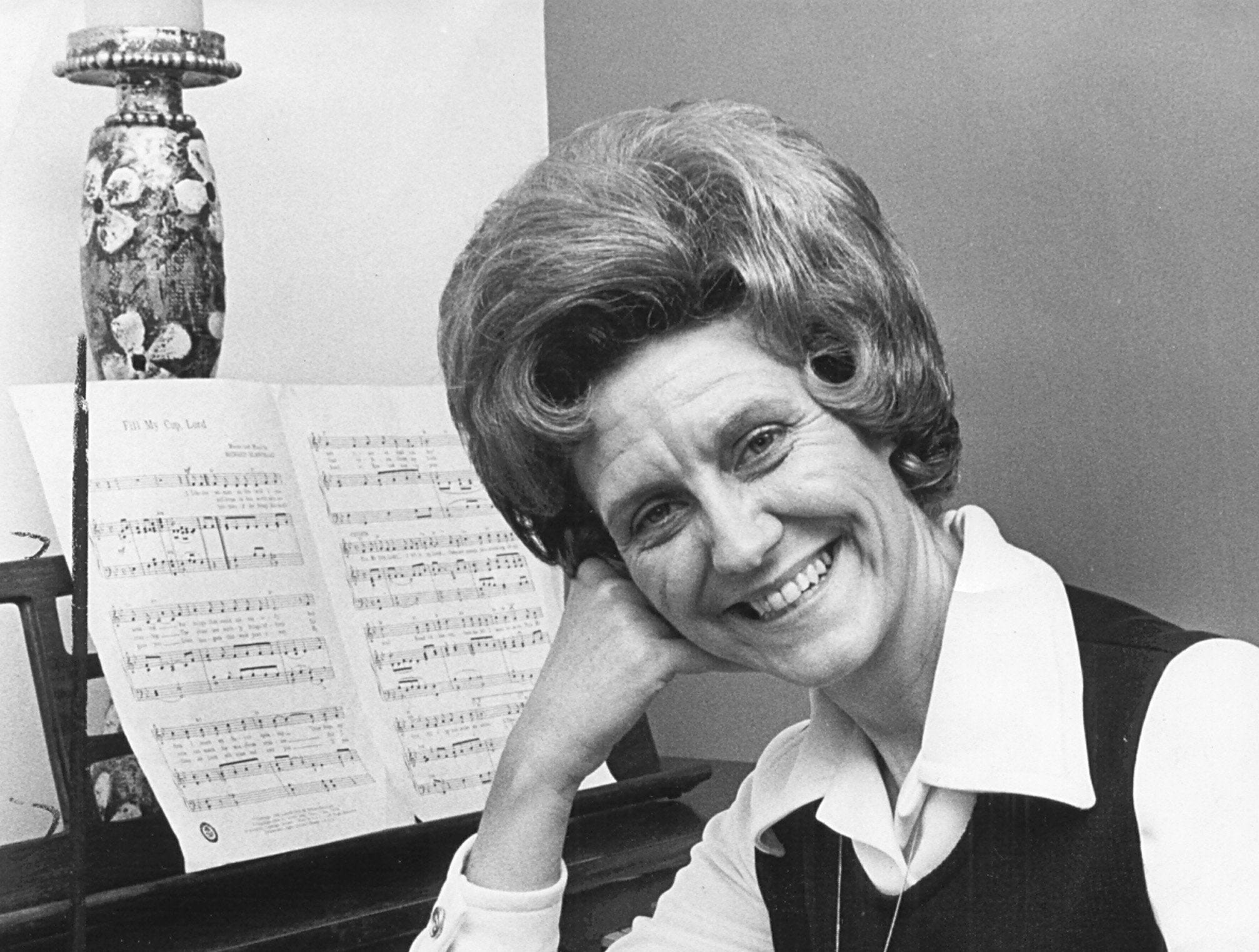 Mrs. Marie Moore was all smiles on 5 Mar 1973 after she was named Tennessee Mother of the Year. A May trip to Denver is ahead where she will represent the state in the American Mother of The Year contest.
