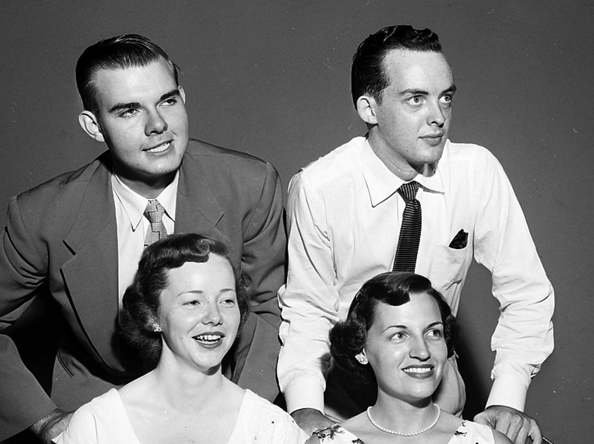 The Memphis State College Quartet were heard with the Memphis Concert Orchestra in a free concert at the Overton Park Shell during the second week of July 1953. Members of the quartet are Robert Kirkham (Left), Wiley Tatum (Right), Martha Ann Gill (Left) and Marjorie Summers (Right).