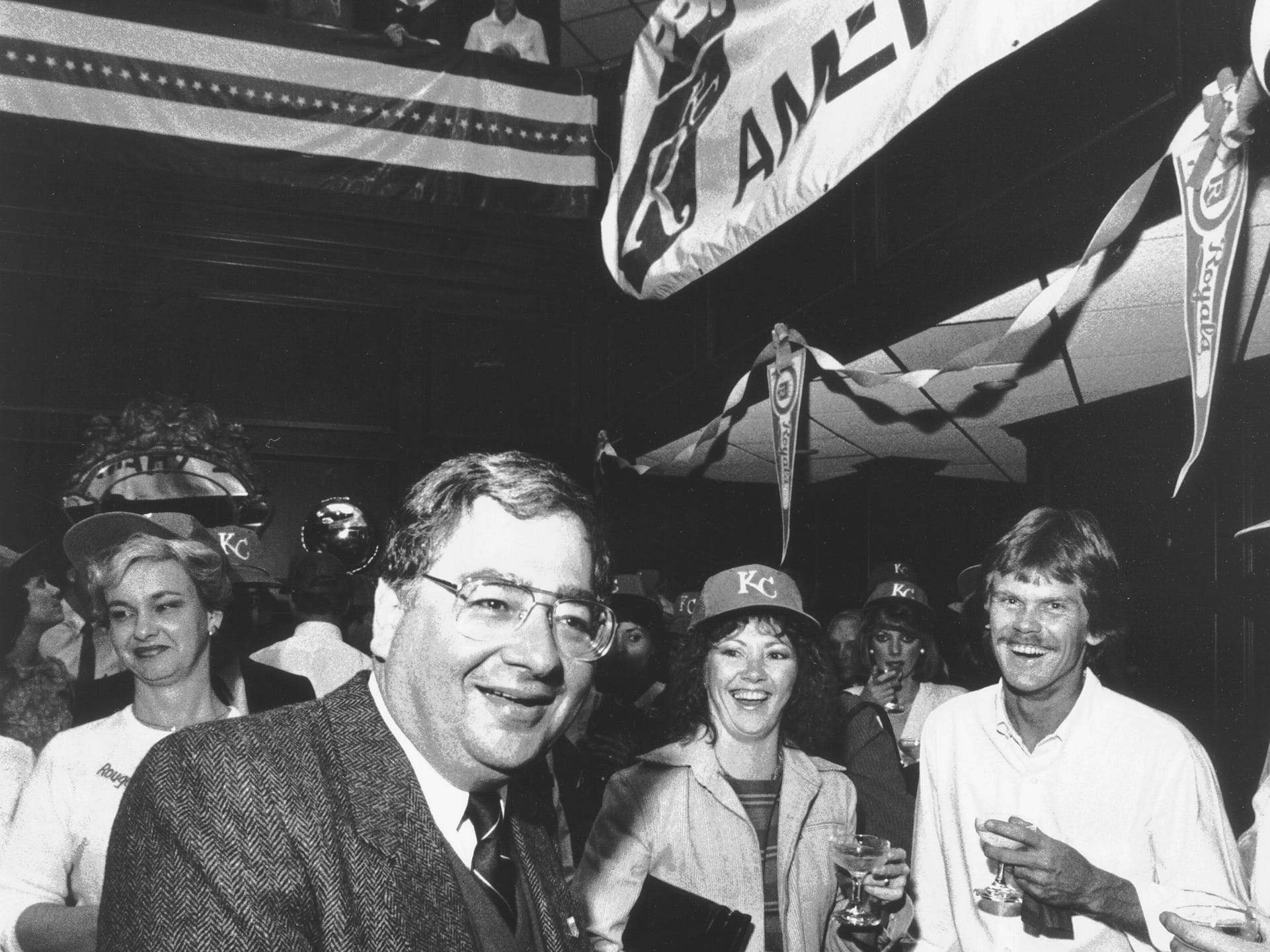 October 17, 1985 - Avron Fogelman is all smiles on October 17, 1985, as he celebrates with employees at his office. The Kansas City Royals, which are co-owned by Fogelman, meet the St. Louis Cardinals in the World Series beginning October 19 in Kansas City.