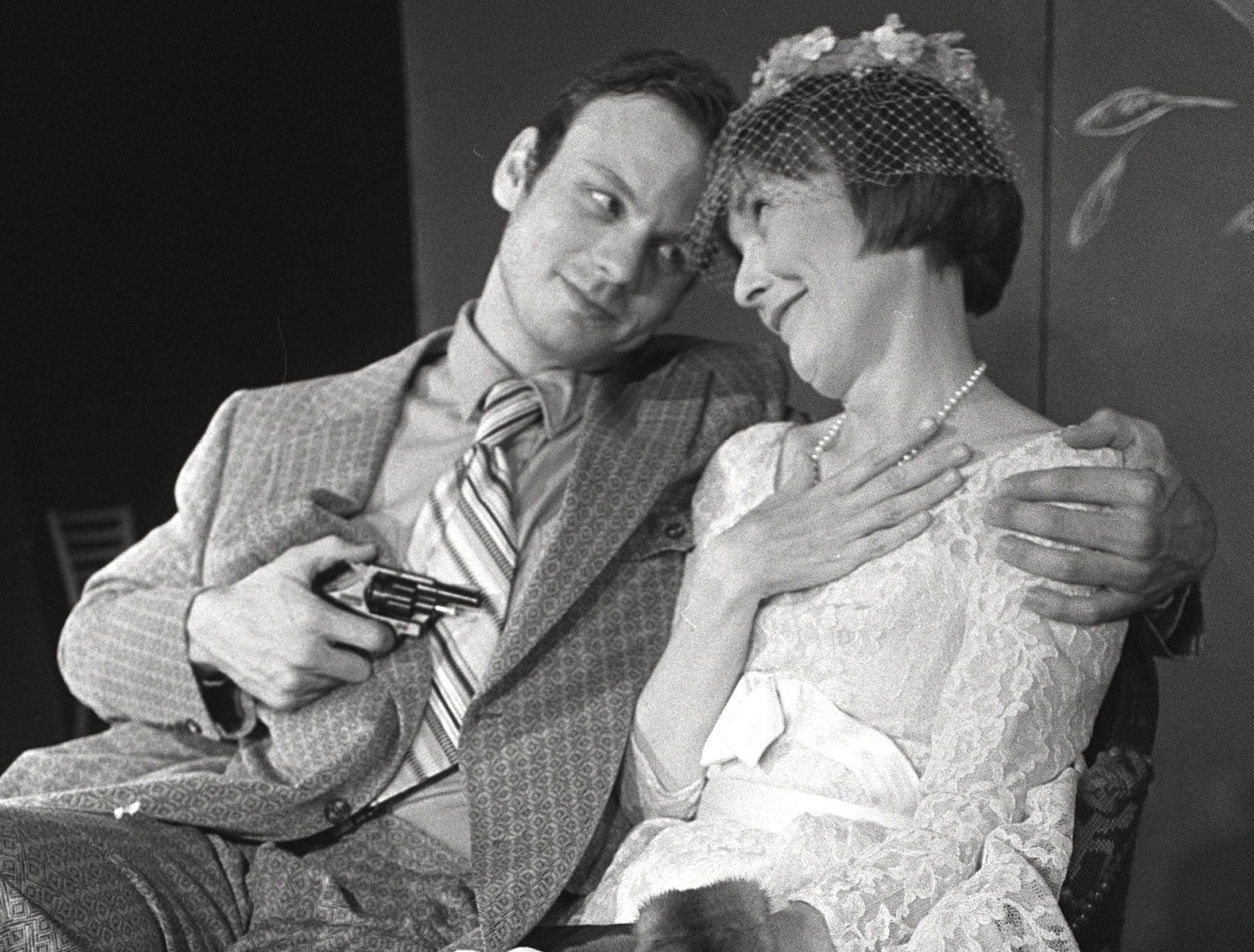 "Mark Johnson has the title role of a fearless British officer in Germantown Community Theatre's ""Bullshot Crumond,"" with Jane Lester as Rosemary, a genteel ""English rose.""  The parody runs in October 1982 with performances Thursday through Sunday."