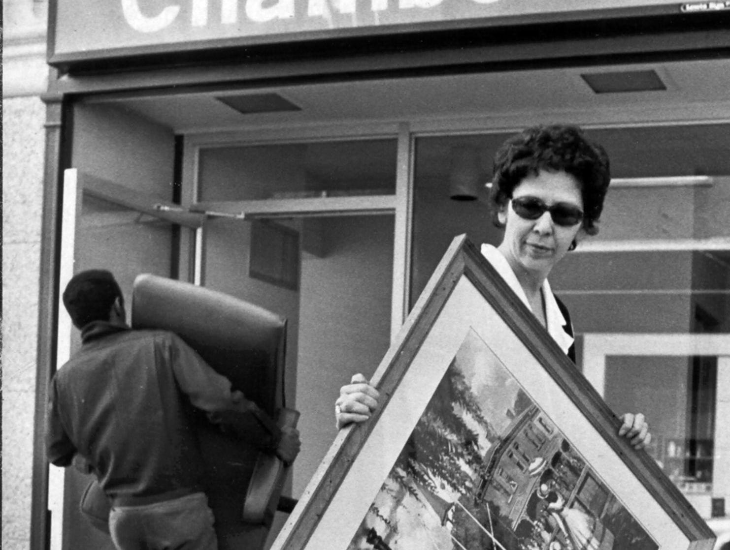 Mrs. Jo Barron of the Downtown Council of the Memphis Area Chamber of Commerce helped the organization move into its new digs at the old Boyle Investment Co. building at 42 South Second Street on March 14, 1974. Boyle moved east and the Chamber moved from its old location at the Southern Peabody.