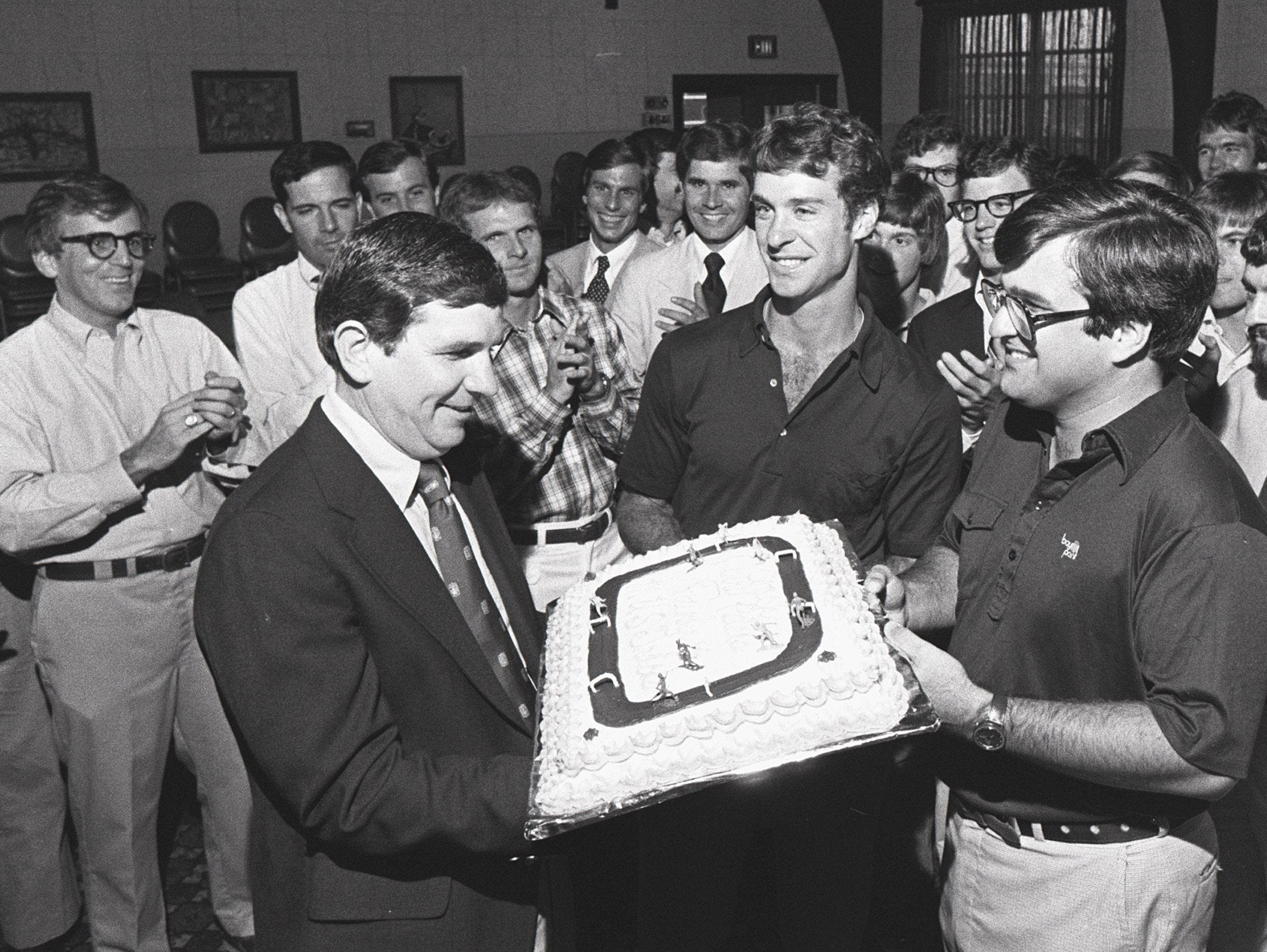 Present and former members of the Memphis University School's track program held a surprise party and steak dinner on 21 July 1978 for MUS Coach Jerry Peters, who announced his retirement in May after 17 years as the school's track coach. He will remain at MUS as head basketball coach.