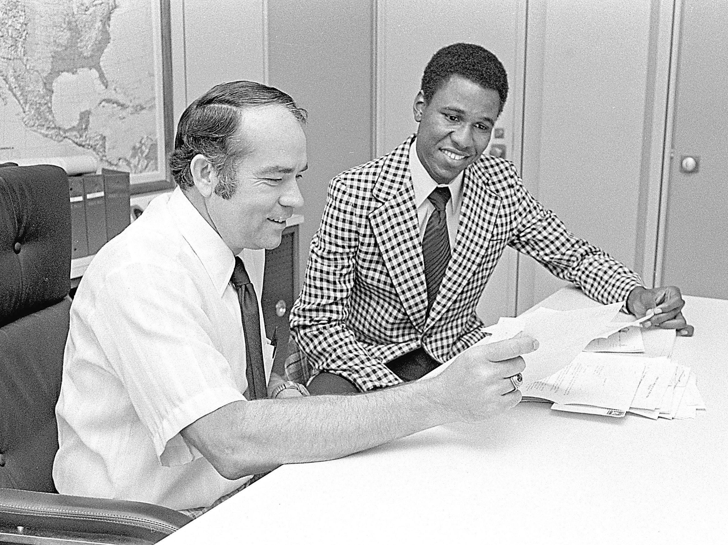 Memphis City Schools newly appointed deputy superintendents Ray Holt (left) and Willie Herenton are shown in a September 9, 1975 photograph.