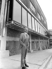 Gene Carlisle, one of the owners of Beale Street Landing, stands in front of No. 1 Beale in August 1978, the first completed step in Carlisle's dream of development of the area.