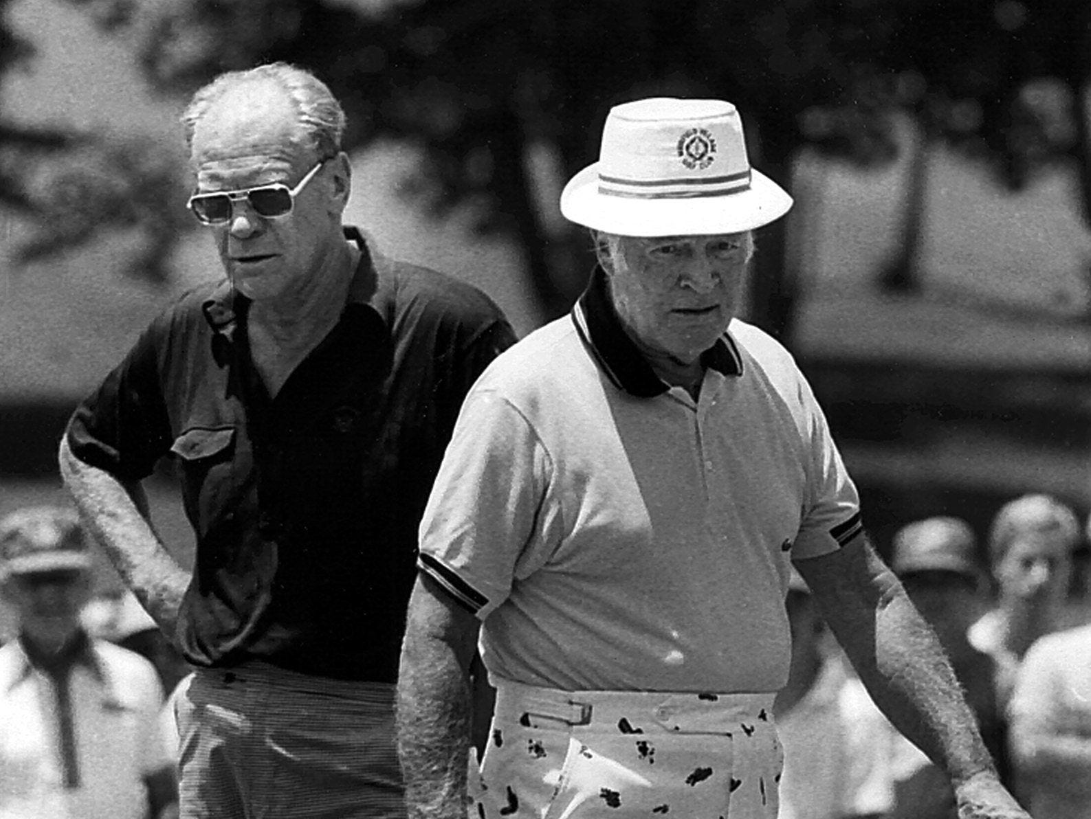 Former President Gerald Ford (left) and comedian Bob Hope (Right) on the first green at Colonial Country Club's south course during the pro-am of the Danny Thomas Memphis Classic on 24 June 1981.