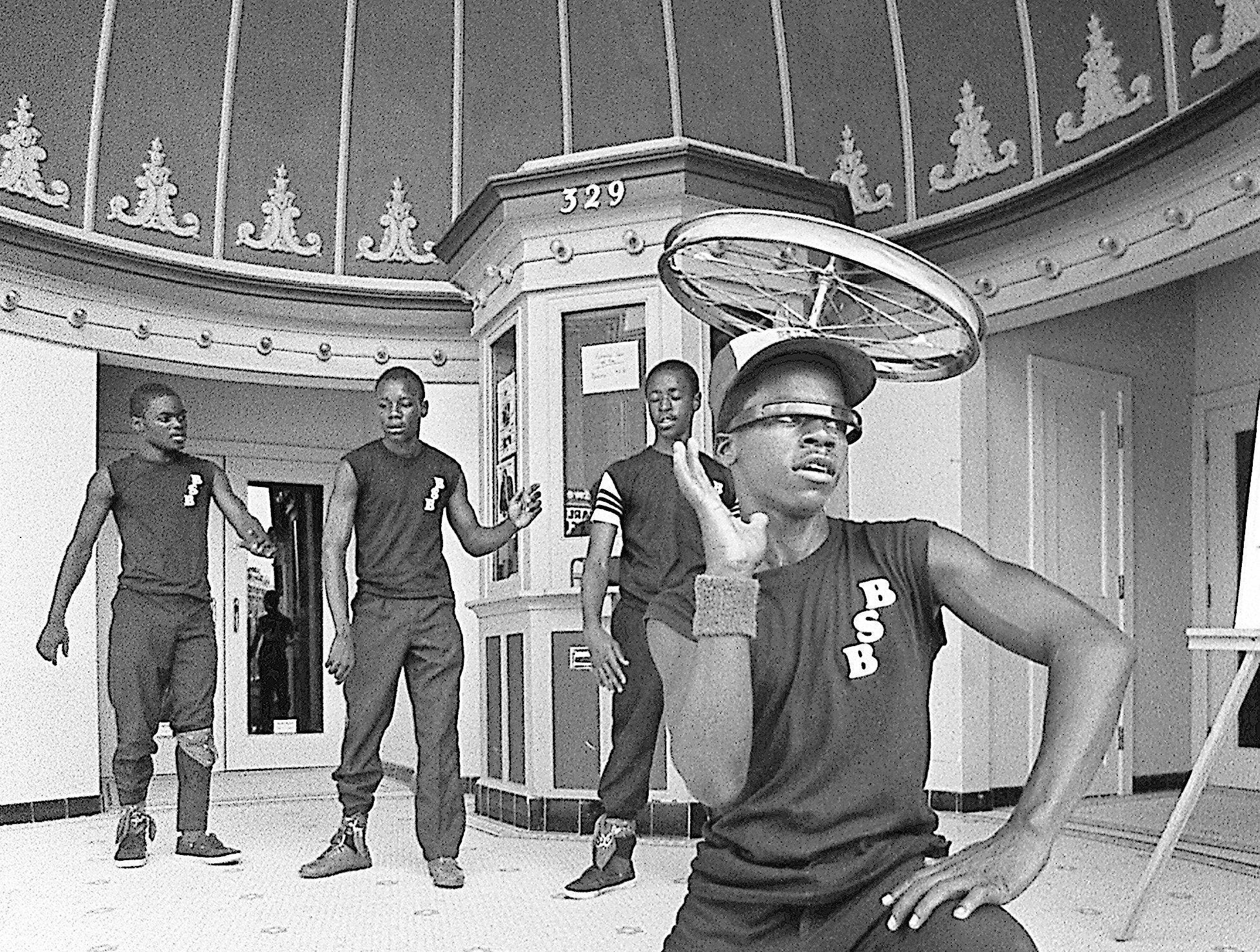 The Old Daisy on Beale Street Breakers prepare for a date at the Halls, Tenn., annual Street Festival in June 1984. Ready to dance are Lawrence Ash, front, and, from left, Anthony Askew, Ivan Lowe and Anthony Perry. Other Memphis performers include The Baffling Mr. Baker (not shown).