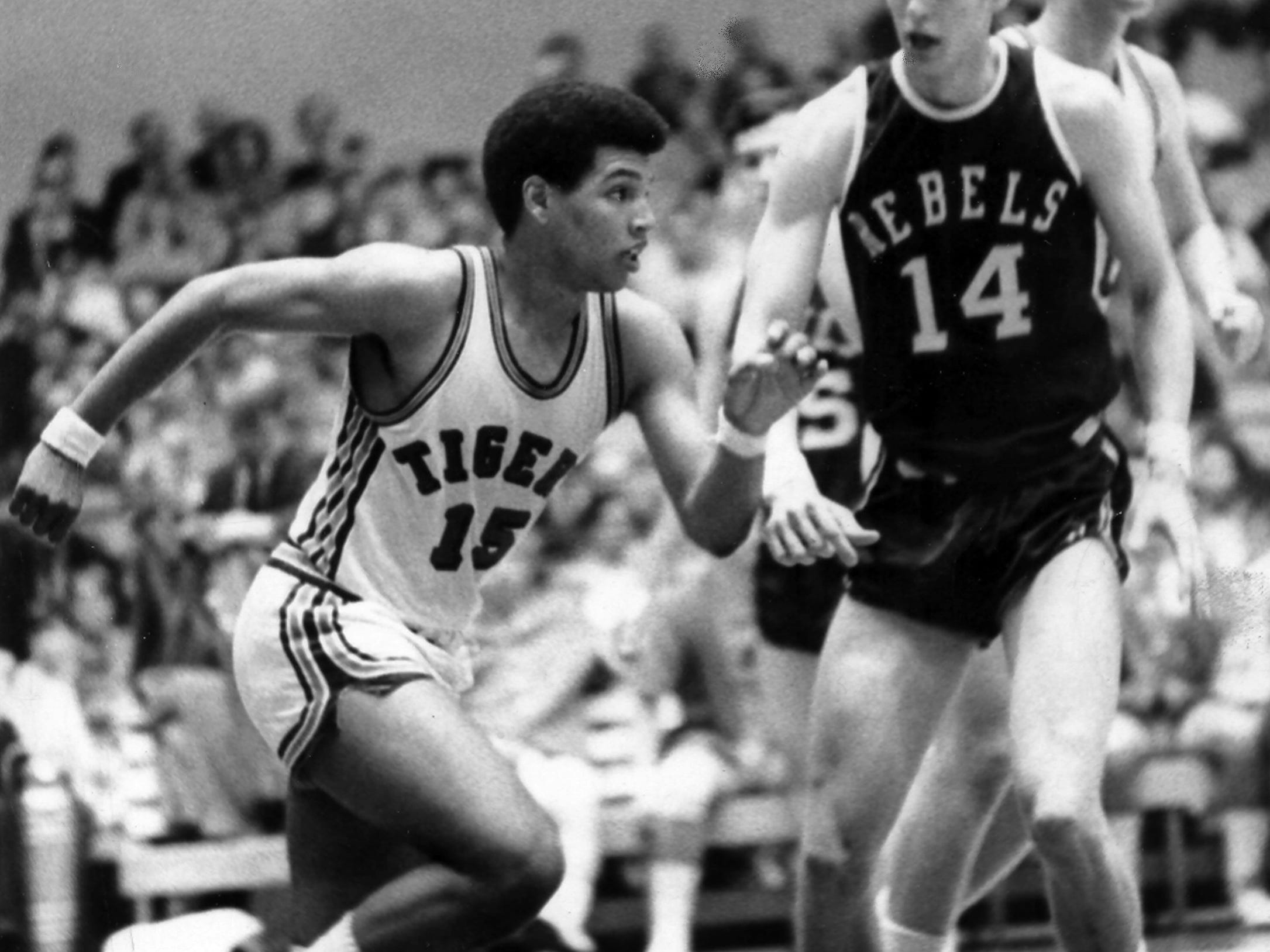 March 4, 1970 - A rivalry begun in high school continued in March 1970 when the freshmen teams from Memphis State and Ole Miss played at the Mid-South Coliseum. Larry Finch (#15) led the Tigers with 32 points and Johnny Neumann (#14) led the Rebels with 44. Neumann's Rebels came out on the long end of the score, winning 103 to 95. Finch played at Melrose while Neumann played at Overton.