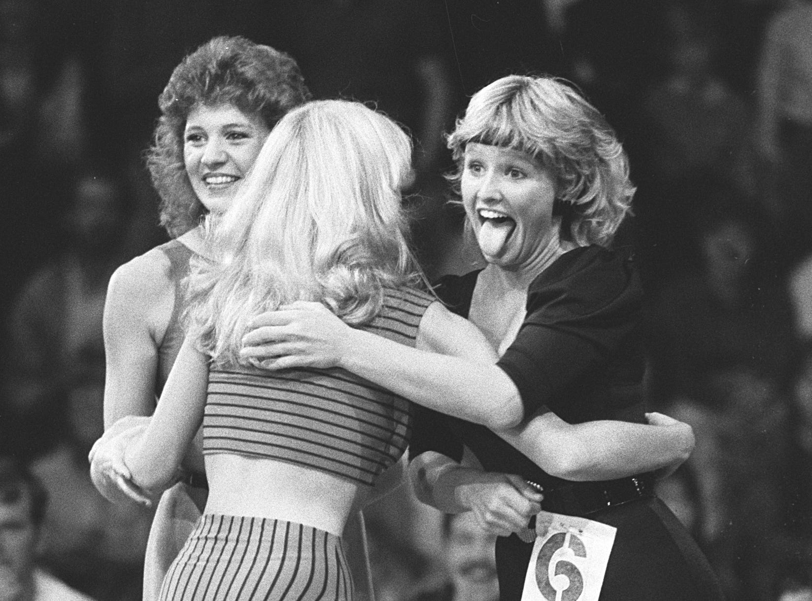 Dianne Barlow (right) reacts happily to the news that she's been selected as a Memphis Showboats cheerleader. 308 young women turned out for tryouts to become cheerleaders for the United States Football League team. The number was whittled down to 60 finalists and 24 were selected at Raleigh Springs Mall on October 22, 1983. Six alternates were also named.