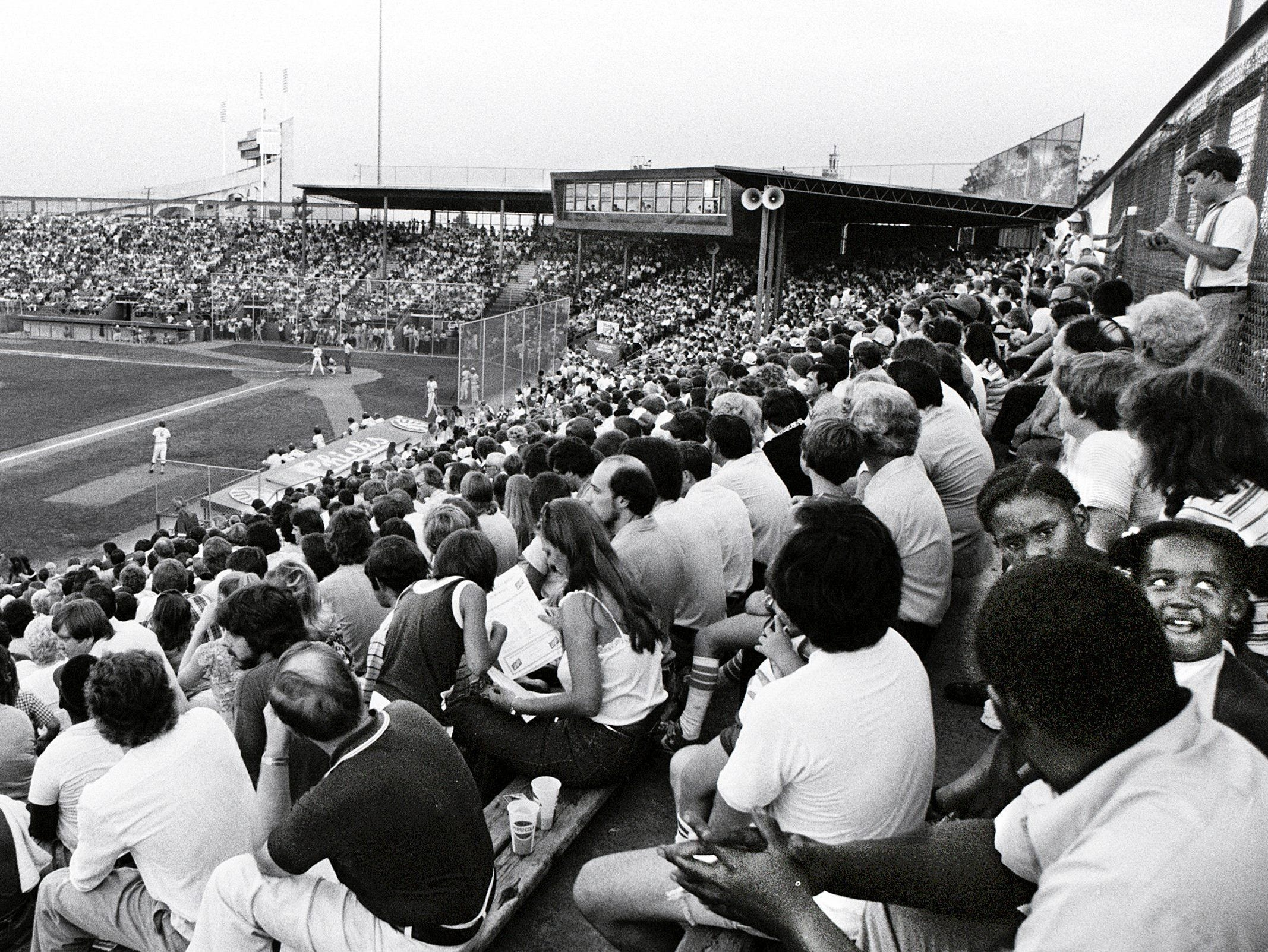 Tim McCarver Stadium on 14 Jul 1979 to watch as Rick Ramos and the Memphis Chicks out-duel Brent Strom and the Columbus Astros 1-0. It was the second largest crowd in the history of the stadium as 9,197 fans filled the stadium on opening night in 1978.