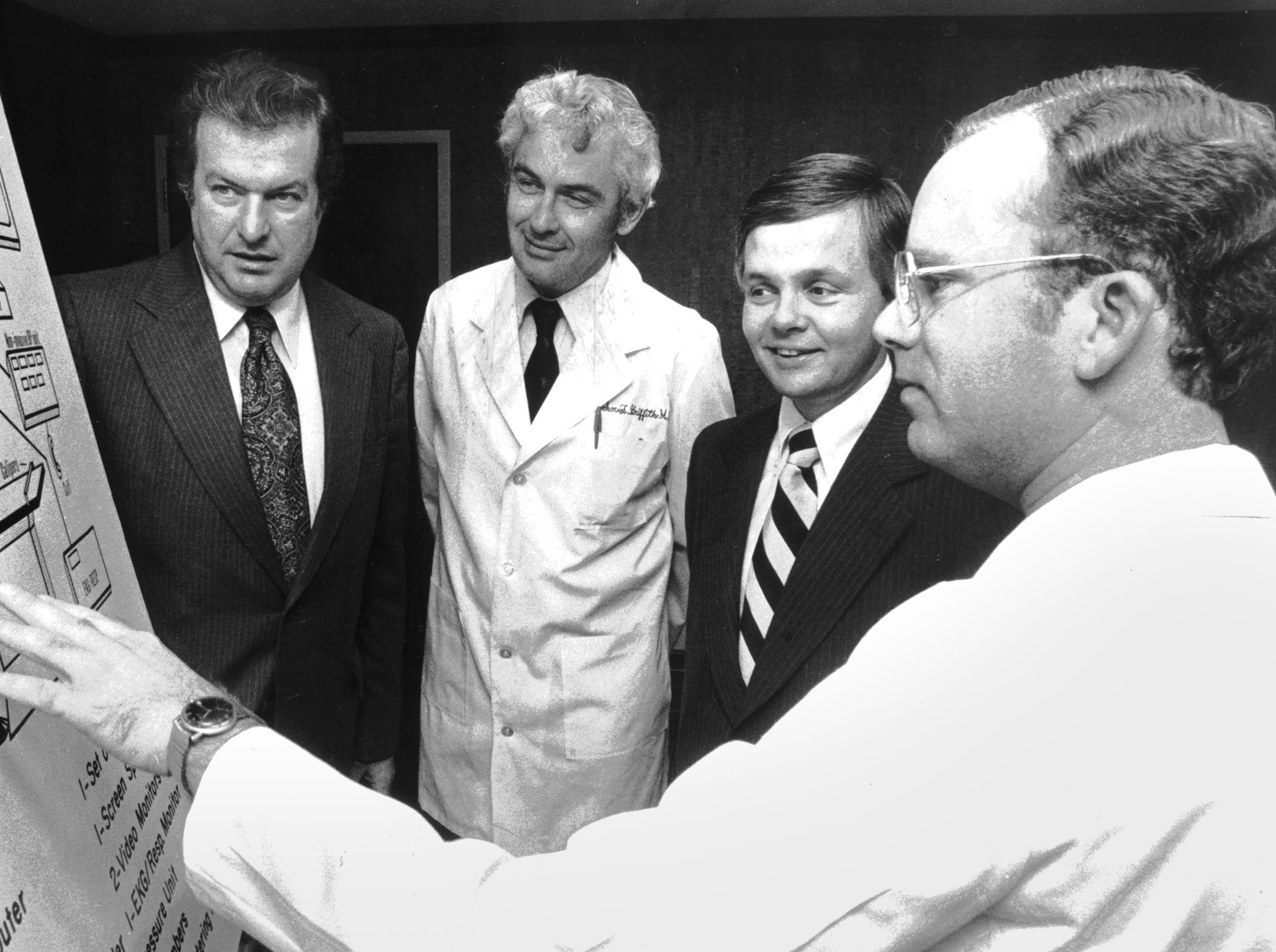 Dr. William G. Andrade (right), director of the Emergency Services Dept. at Le Bonheur Children's Hospital, discusses new emergency room ideas to be implemented at the hospital with (from left) Francis X. Maguire, senior vice president of corporate communications at Federal Express, Dr. John Griffith, Medical Director at Le Bonheur and Pediatric Dept. Chairman at UTCHS (University of Tennessee Center for the Health Sciences) and Eugene Cashman Jr., president of Le Bonheur. Federal Express donated $25,000 to the hospital to help with the project on Nov. 16, 1979.