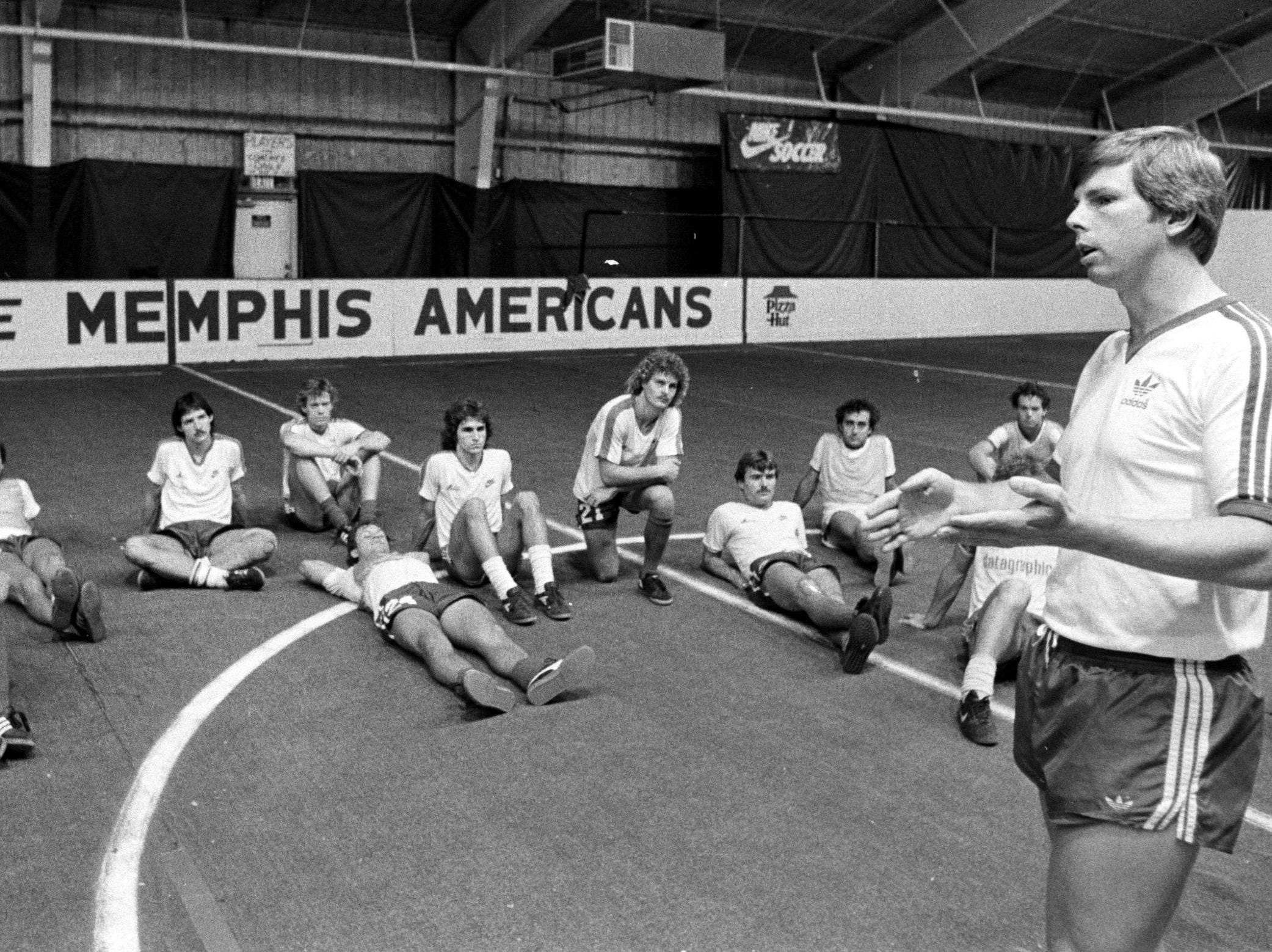 Head coach and general manager Kyle Rote Jr. makes a point to his Memphis Americans soccer team during practice on Oct. 15, 1983. Rote became U.S. pro soccer's first native-born superstar when he won the North American Soccer League scoring championship in 1973.