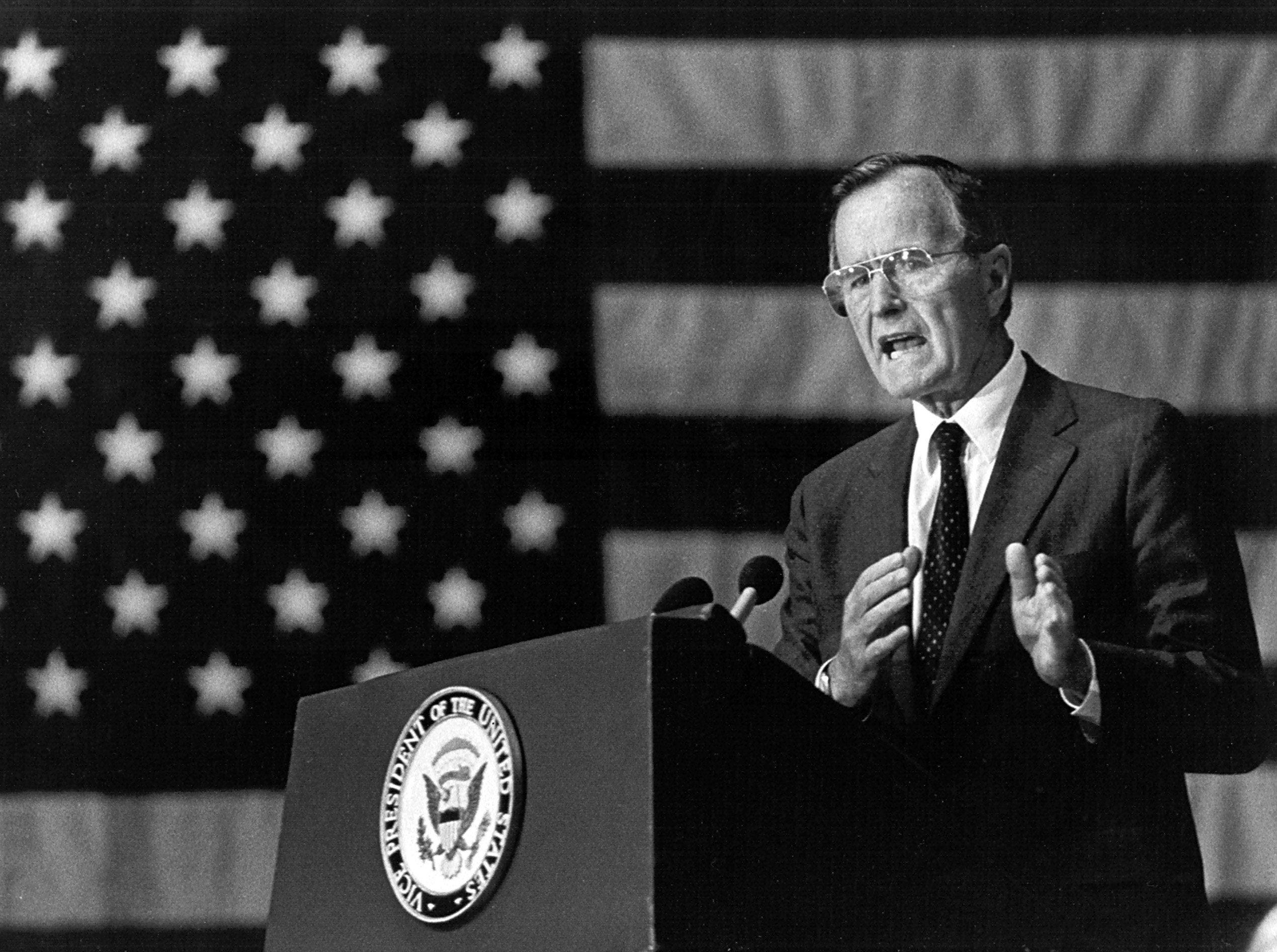 Vice President George H.W. Bush addresses the annual meeting of the Delta Council at the Walter Sillers Coliseum at Delta State University in Cleveland, MS on May 30, 1984.