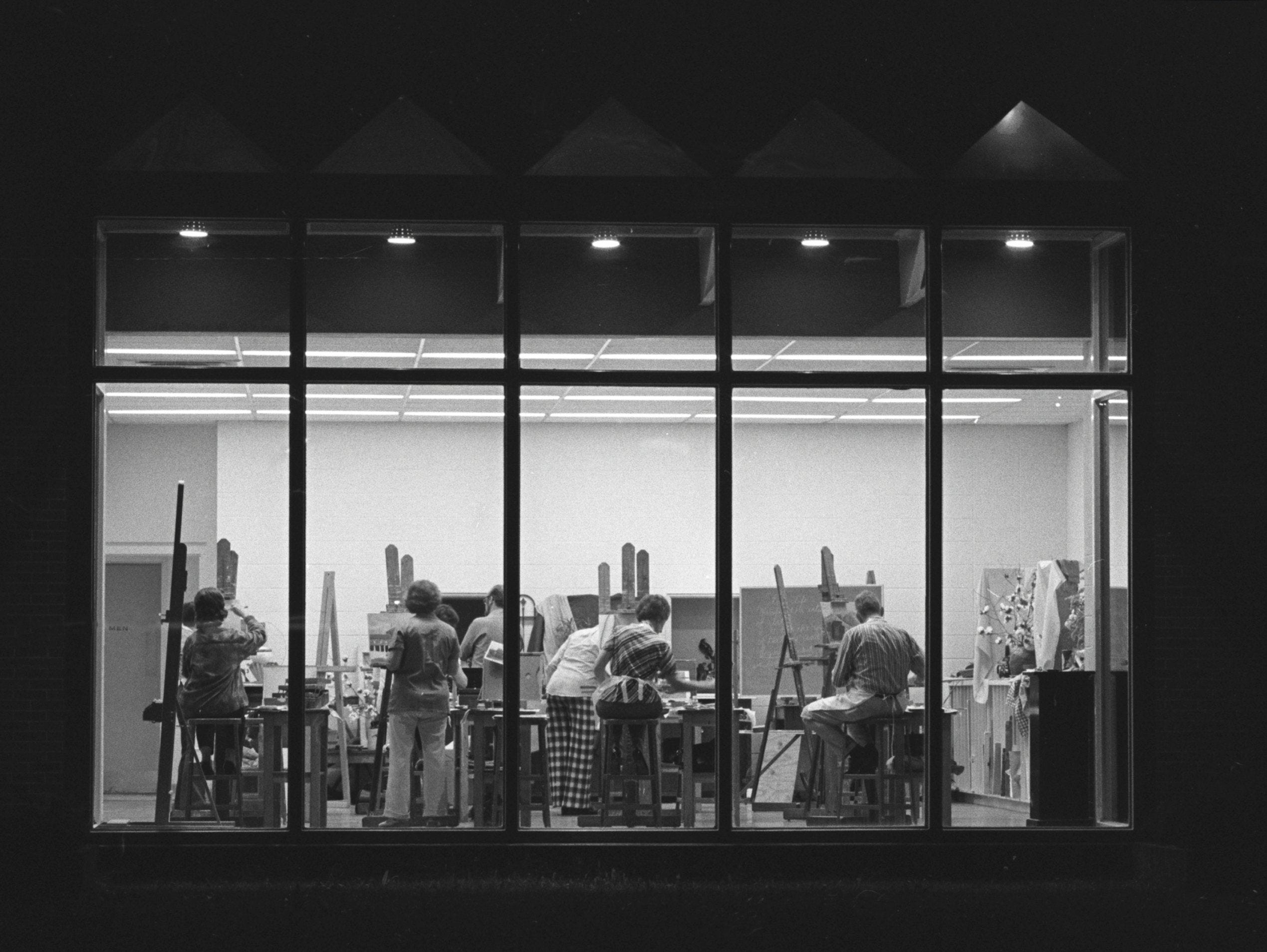 Members of a night class in oil painting go about their business at the Memphis Park Commission Hobby Center at 2635 Avery in November 1975. Some of the new series of classes, which are limited to 12 persons, are filled, but there are openings in various classes. The 10 week classes cost $15, excluding supplies. The next new classes will begin in February.