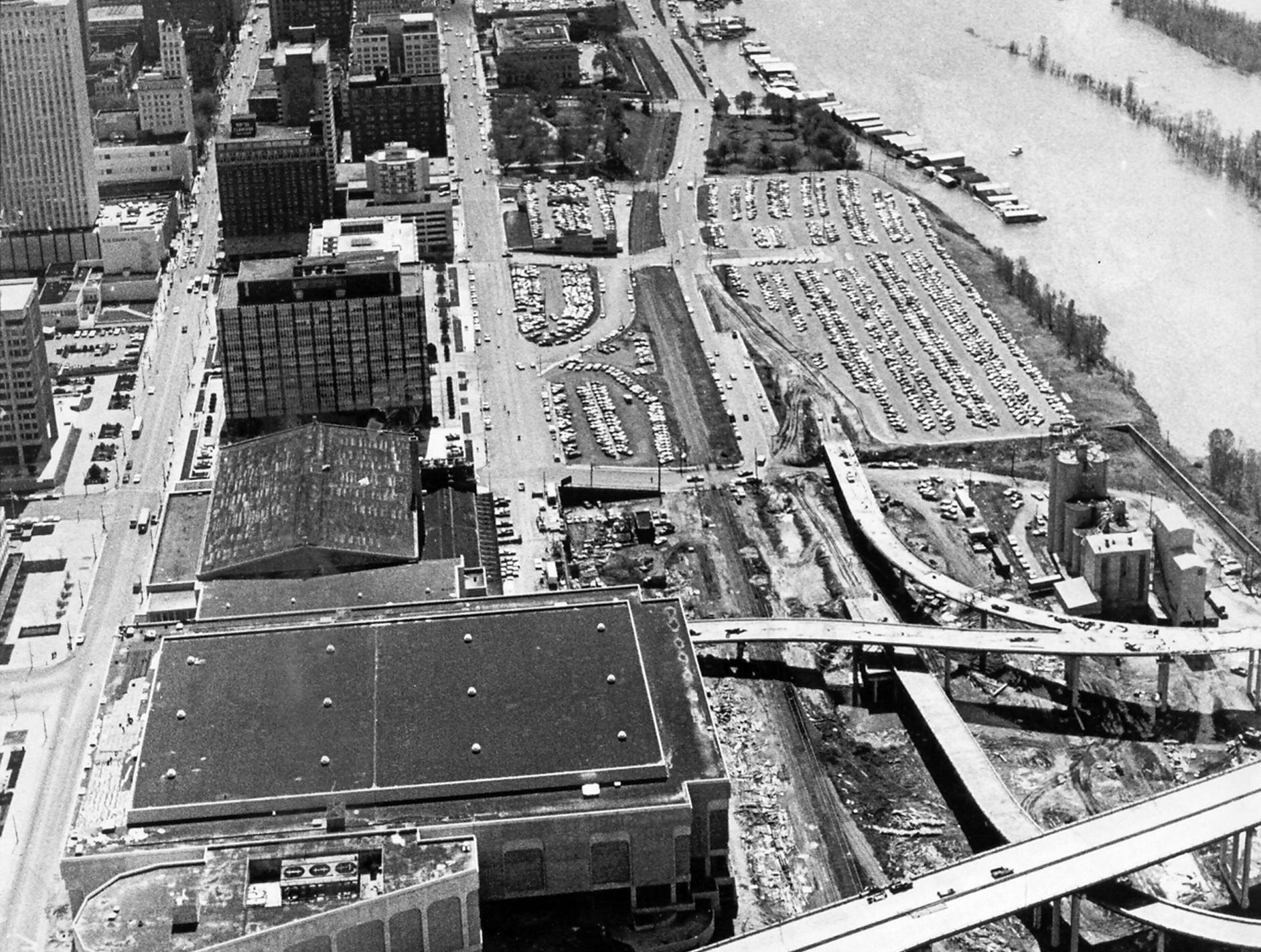 Downtown Memphis as seen in this March 28, 1973, aerial photograph taken looking toward the south before the Mid-America Mall, Morgan Keegan Tower and Mud Island River Park were built. Waterford Plaza is also missing from the South end of the downtown area.
