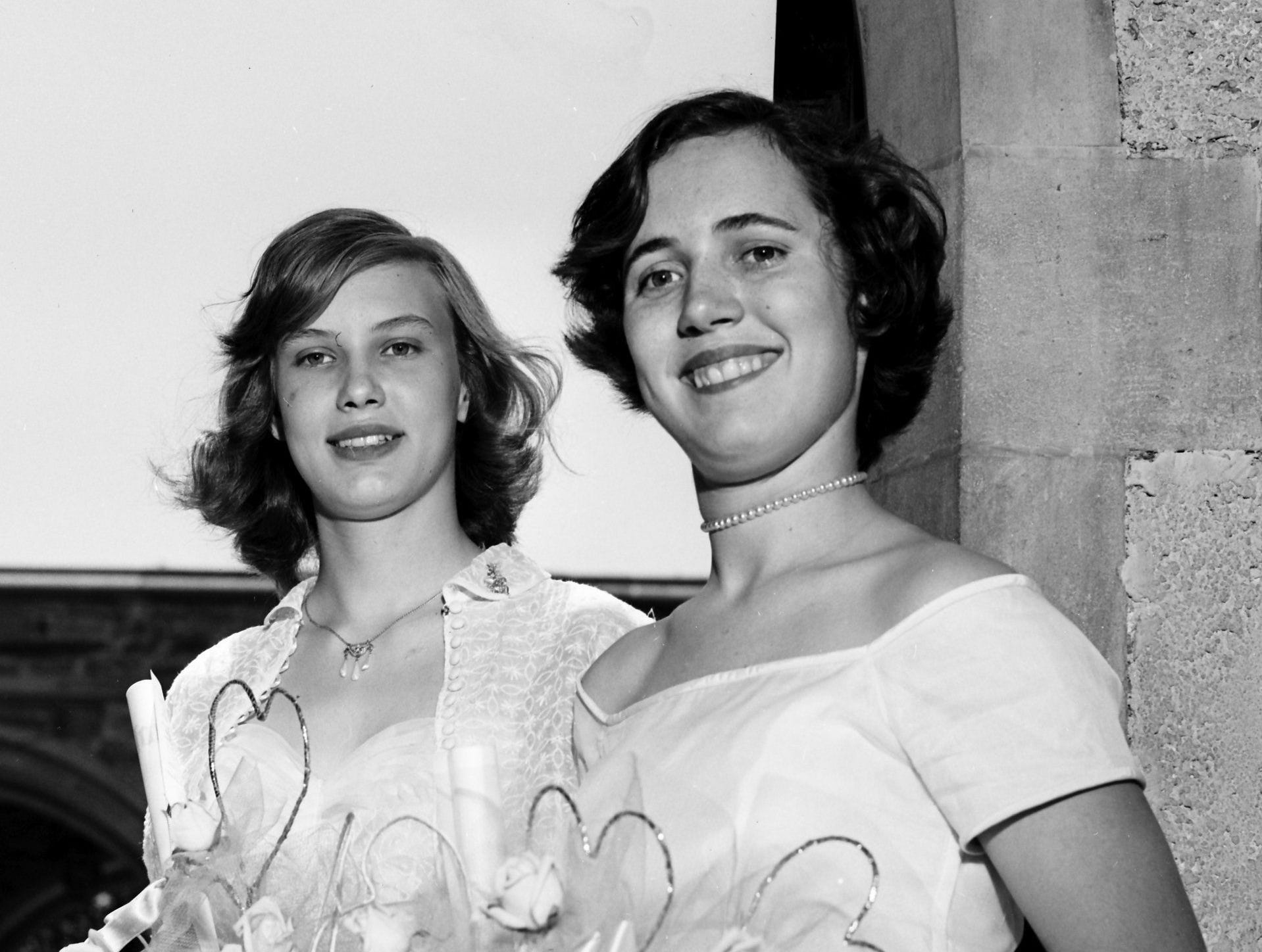 Miss Anne Elizabeth Mitchell, left, had the highest four-year and senior year averages at Miss Hutchison?s School when she was graduated in May 1953. Miss Elizabeth Carleton Etter ranked second in the class which received diplomas at Idlewild Presbyterian Church. Miss Mitchell is the daughter of Mr. and Mrs. R.H. Mitchell of 3170 Southern. Miss Etter?s parents are Dr. and Mrs. C. Barton Etter of 246 South Belvedere.