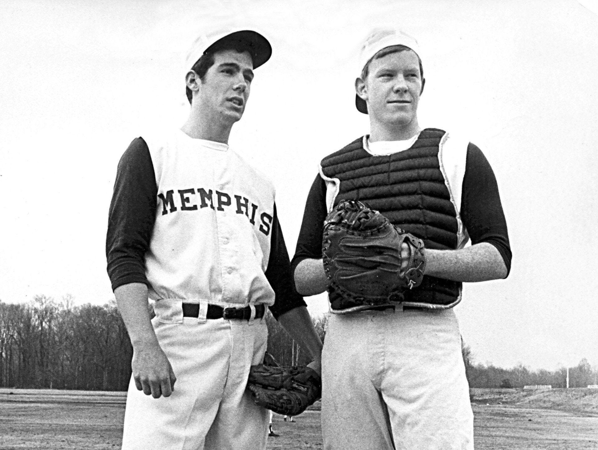 Farrel Vincent (Left) and David Umsted are Christian Brothers High School battery mates on 30 Mar 1970.