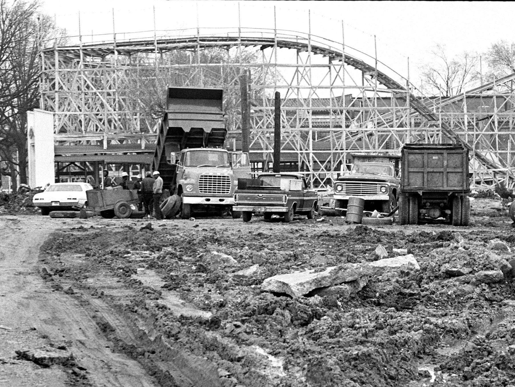 The Zippin Pippin is about all that remains of the old Fairgrounds Amusement Park as demolition continues in February 1975 to make way the for Libertyland.