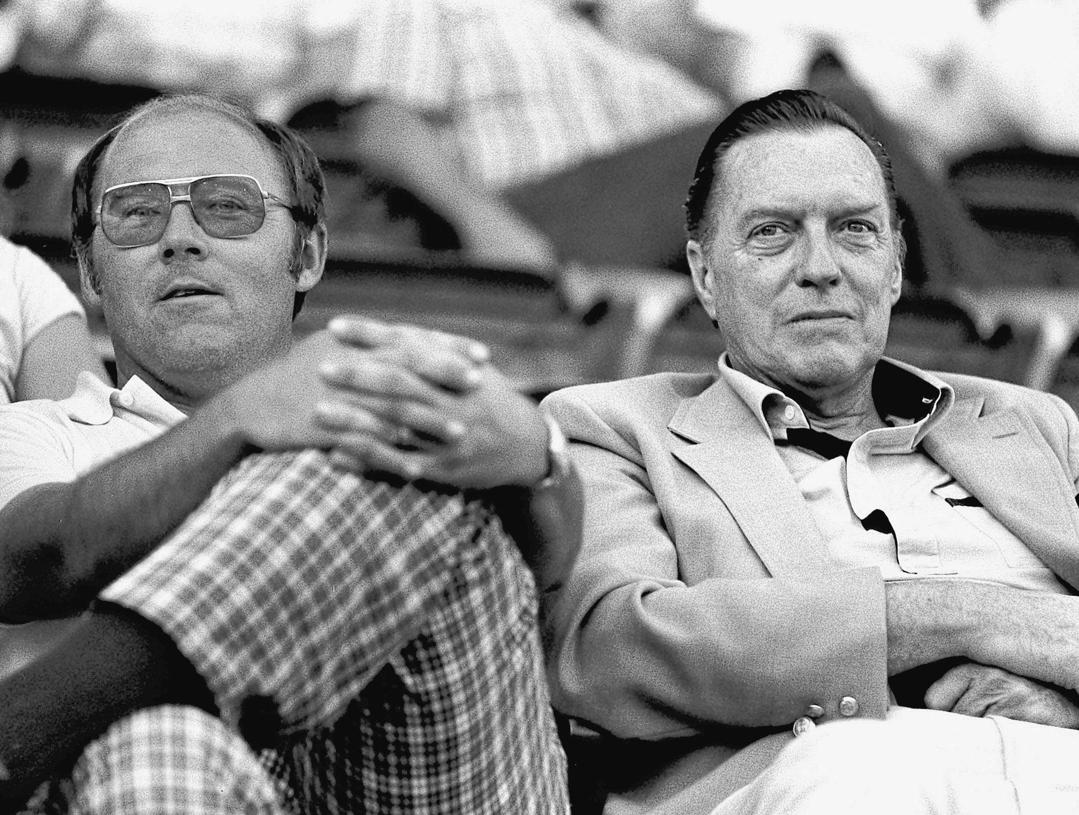 Memphis Chicks general manager Allie Prescott (Left) and Montreal Expos president and general manager John McHale (Right) look on as the Chicks defeated the Chattanooga Lokouts 9-4 before 4,445 fans at Tim McCarver Stadium on 27 May 1982. The Chicks, of the Southern League, are affiliated with the Expos.