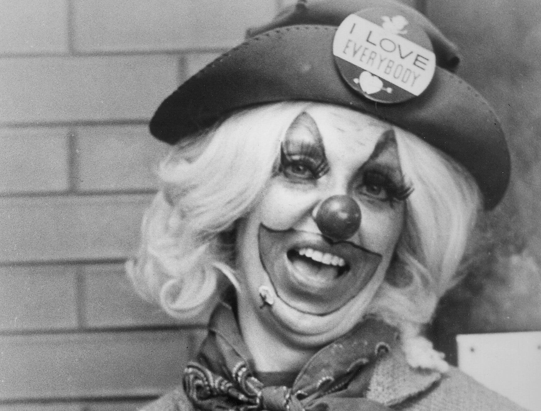 """Lydia Slentz as  """"Susie The Clown"""" brought smiles to faces of participants at Memphis Cotton Carnival events in April 1974.  She also made appearances with Danny Thomas at St. Jude Children's Research Hospital."""