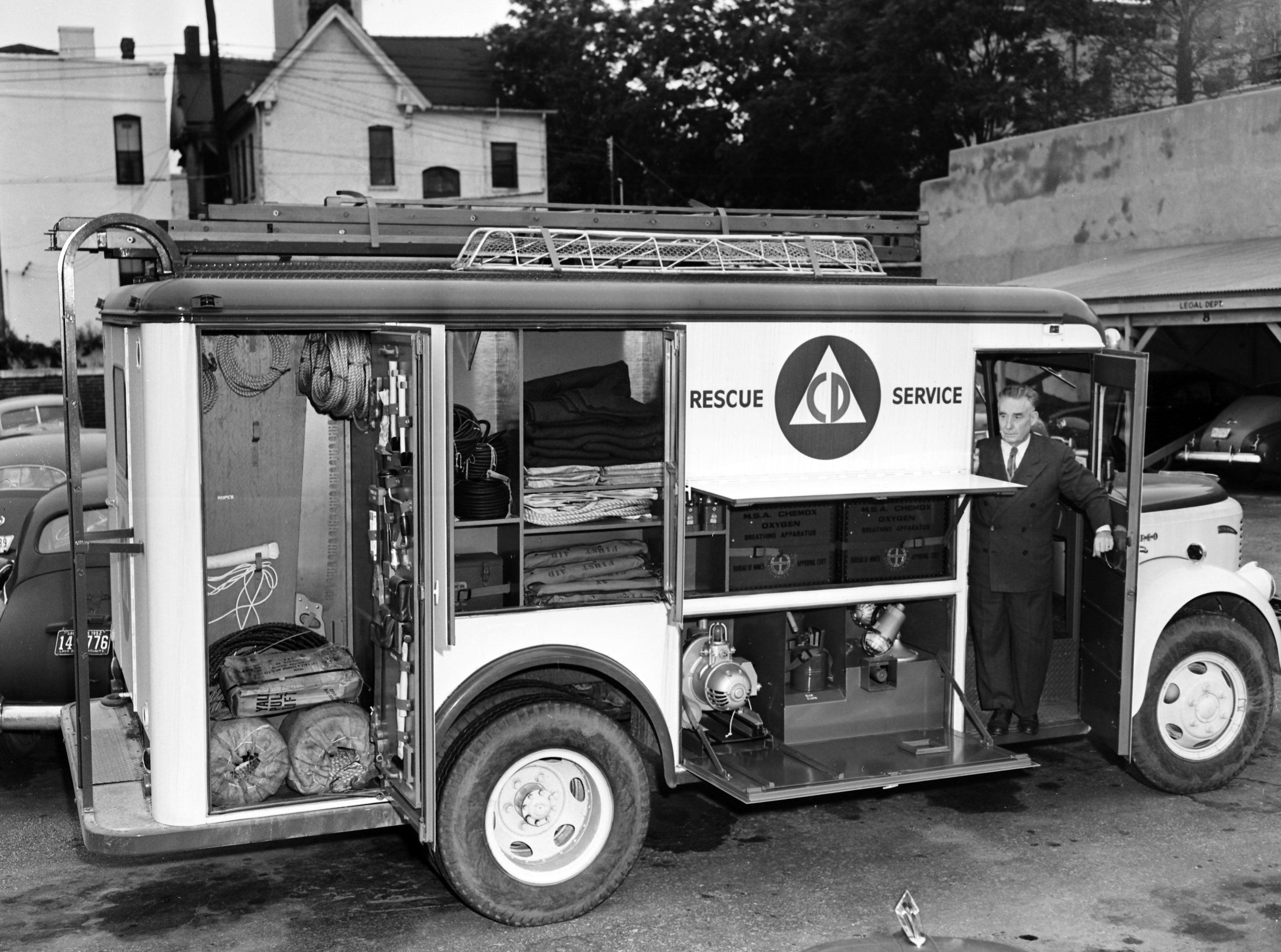 The first of two civil defense rescue service trucks was delivered in May 1953 to LTC John F. Somers, deputy director of the Memphis-Shelby County Civil Defense Commission. Regarded as the last word in rescue vehicles, the truck contains more than 300 pieces of rescue equipment. It is a combination of a fire truck, an ambulance and a utility company trouble shooter. It weighs 10 tons and has a top speed of 55 miles an hour.