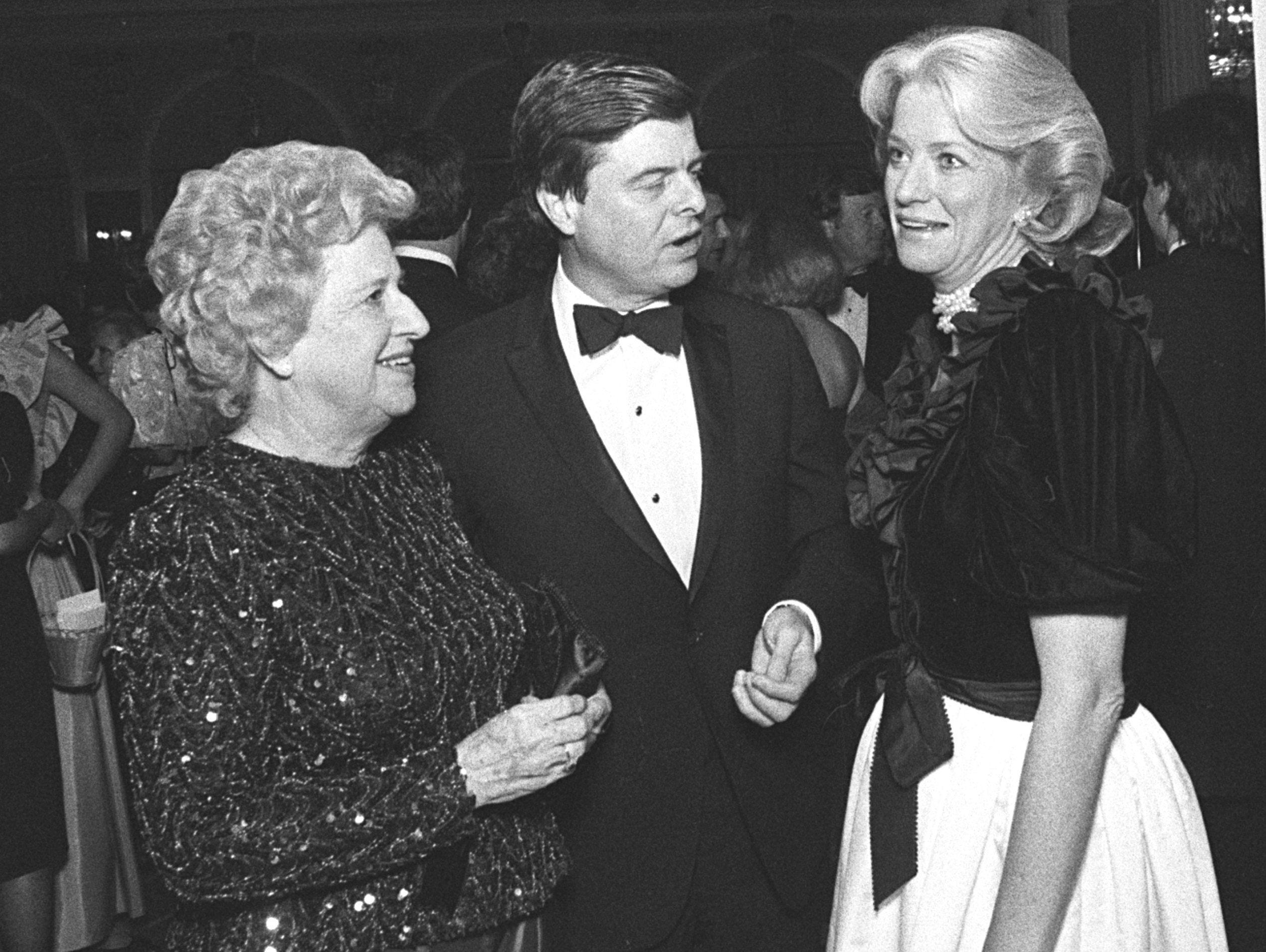 Mrs. Mary Nell Sasser (Left) attended the Symphony Ball on 9 Oct 1983 with her son and daughter-in-law, Sen. and Mrs. Jim Sasser.  The ball raised close to $250,000 for the Memphis Symphony Orchestra, according to ball chairman Deloss Walker (Not Shown).files.