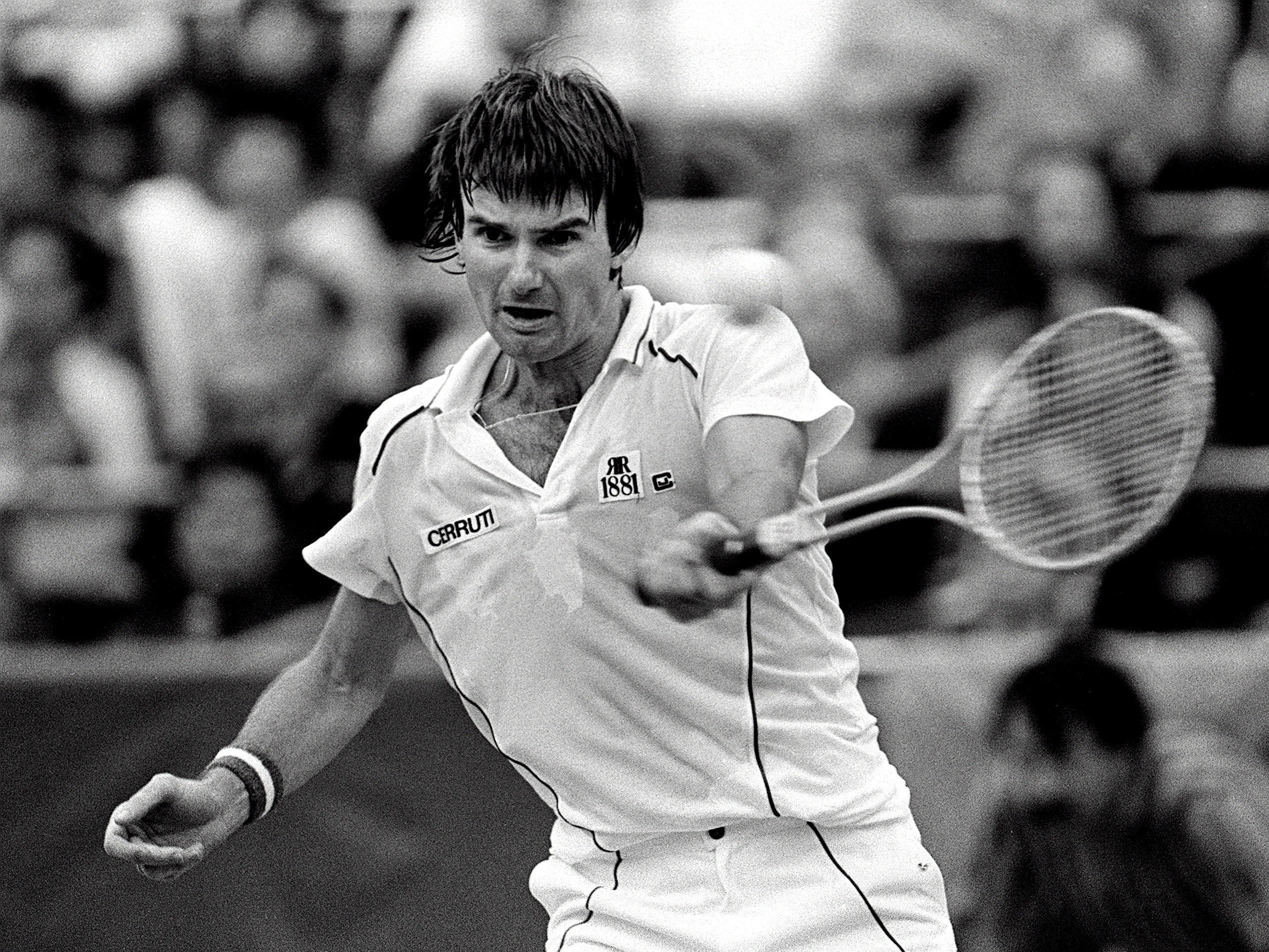 Jimmy Connors hits a forehand against Henri LeConte during the finals of the U.S. National Indoor Tennis Championship at The Racquet Club of Memphis on Feb. 12, 1984. Connors won 6-3, 4-6, 7-5 to capture a record seventh title in the event.