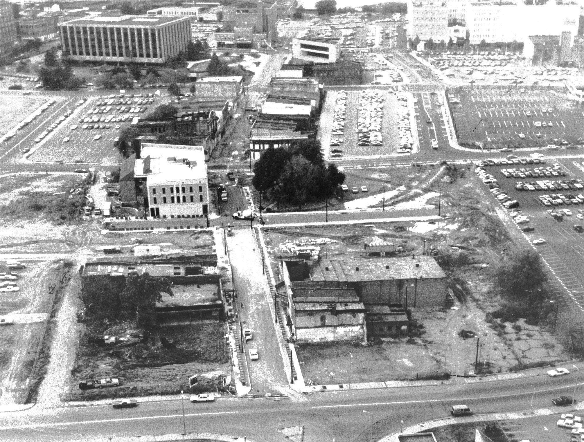 Beale Street wasn't much to look at in the Fall of 1981 as evidenced by this aerial view looking toward the west.  First Baptist Beale Street stands in the left foreground and the Memphis Light, Gas and Water Division building is at upper left.