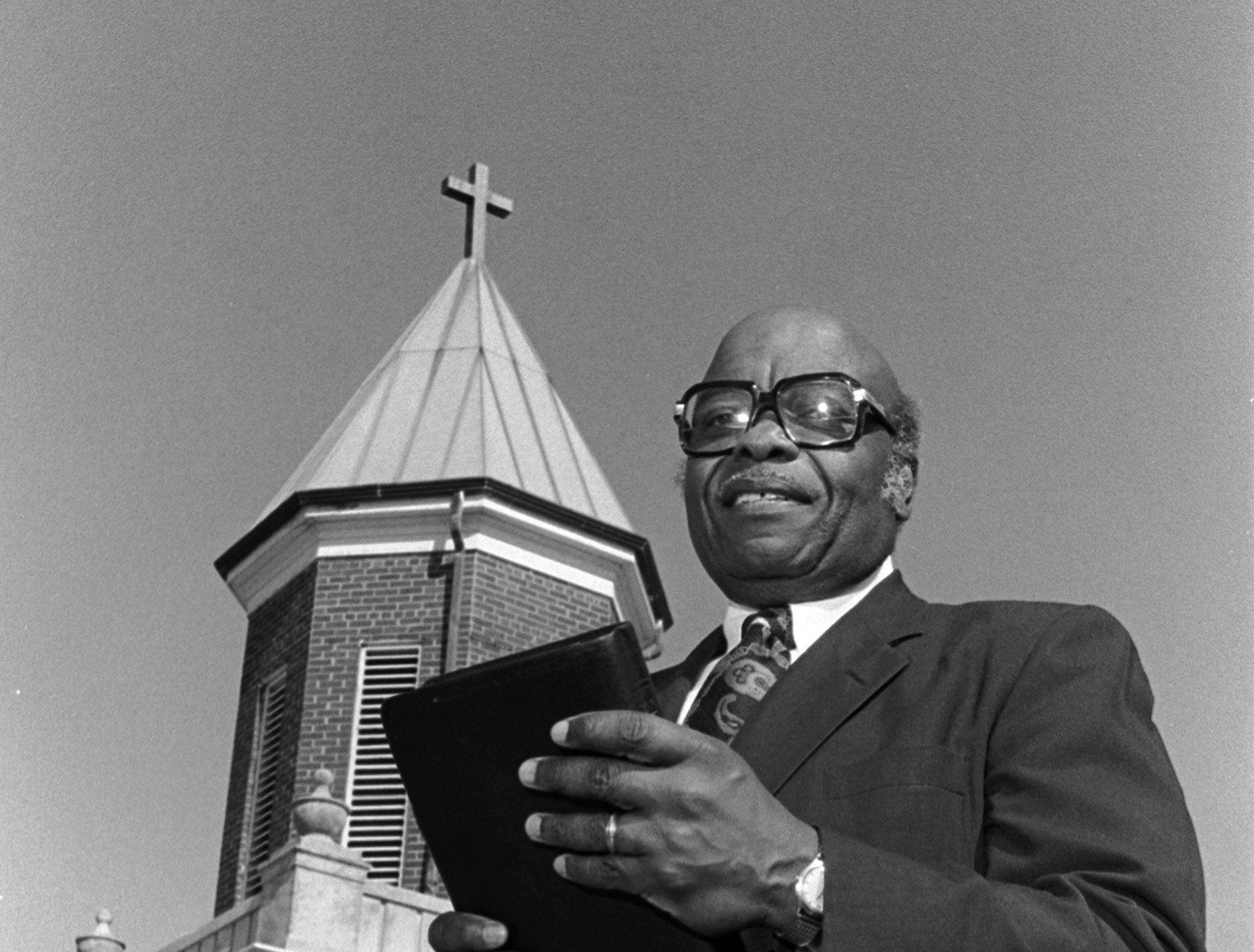 Rev. Fred C. Lofton, shown in February 1984, has been pastor of Metropolitan Baptist Church since 1972. Born in North Carolina, he was educated at Morehouse College, the University of Southern California and Emory University, where he received a doctorate in sacred theology. He has been active in ecumenical and social programs with the Metropolitan Inter-Faith Association.