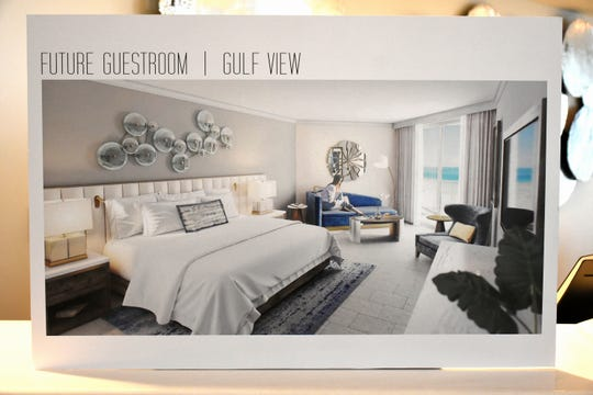 A rendering shows the new look for guest rooms. The Marco Hilton is now set to reopen for overnight guests by the end of September, after more than a year of closure.