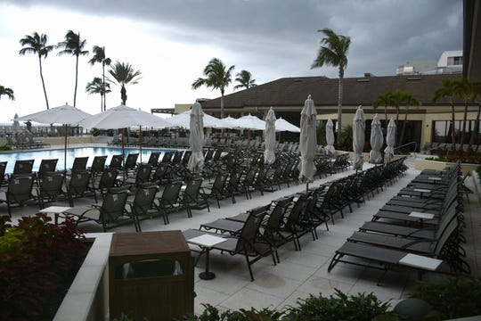 The pool deck awaits an influx of visitors. The Marco Hilton is now set to reopen for overnight guests by the end of September, after more than a year of closure.