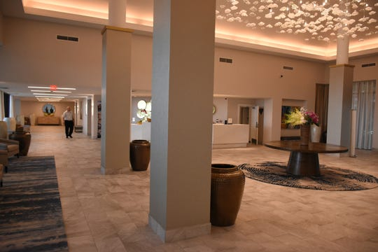 The chandelier in the lobby was picked out personally by company CEO Andrea Olshan. The Marco Hilton is now set to reopen for overnight guests by the end of September, after more than a year of closure.
