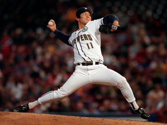 Brewers pitcher Hideo Nomo in action during the top of the fourth inning Friday night at County Stadium against the Houston Astros.
