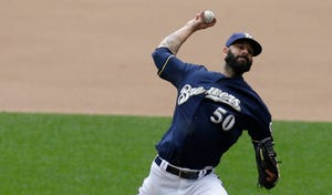 Milwaukee Brewers starting pitcher Mike Fiers (50) throws during the sixth inning of their game against the Atlanta Braves Wednesday, July 8, 2015 at Miller Park.