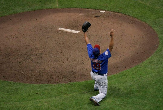 Chicago Cubs pitcher Carlos Zambrano celebrates the third out in the ninth inning after pitching a no hitter against the Houston Astros at Miller Park on Sunday September 14, 2008. The game was relocated to to MIlwaukee due to the effects of Hurricane Ike to the Houston area.