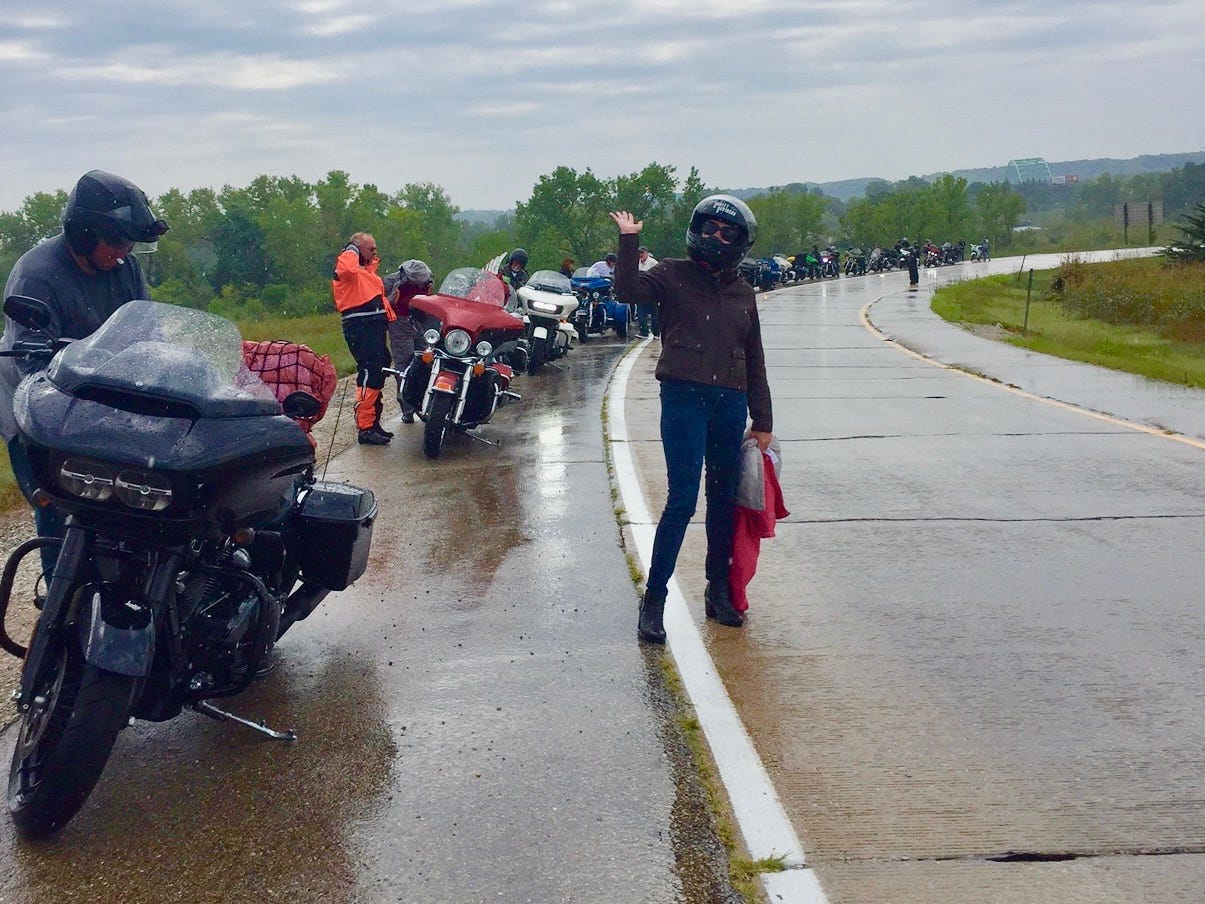 Riders had to stop at one point on the last day of the ride to change into their rain gear.