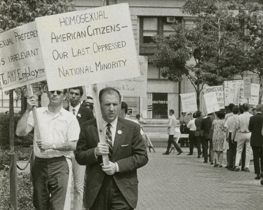 Frank Kameny leads a picket line in front of Independence Hall in Philadelphia on July 4, 1965, in what was at the time the largest-ever public demonstration for LGBT rights.