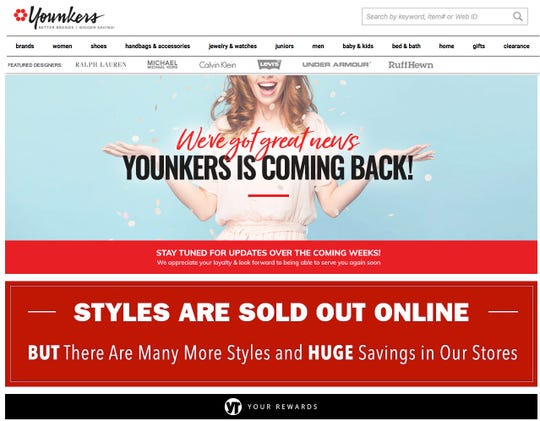 The Younkers webpage, like the Boston Store website, displayed a message friday suggesting the shuttered stores were making a comeback.