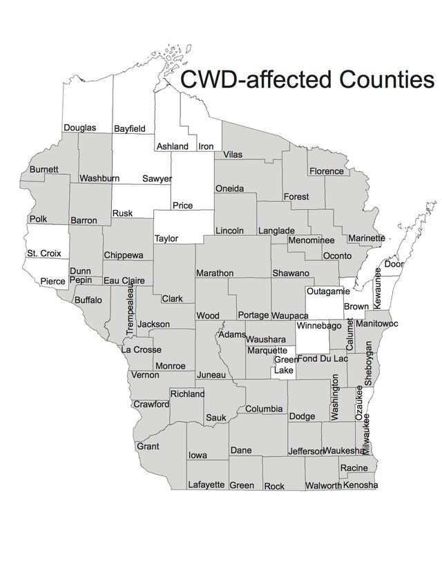Image result for wisconsin CWD map