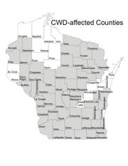 Map of CWD-affected Wisconsin counties as of August 2018