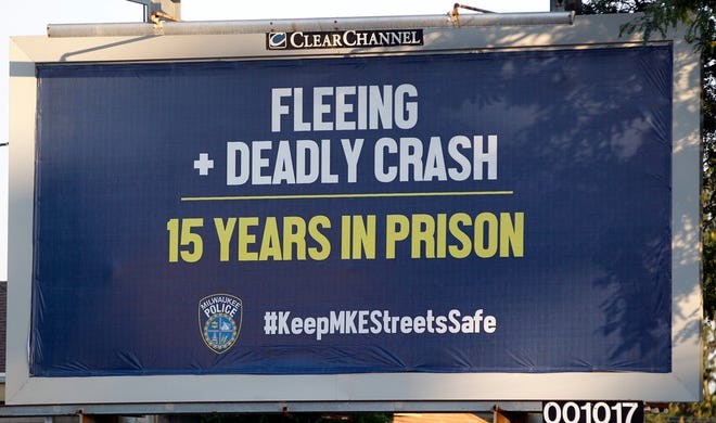 A billboard near West Appleton and West Courtland avenues warns drivers of the dangers of fleeing from Milwaukee police.