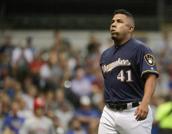 Junior Guerra is among the Brewers starters who have struggled recently. He has a 6.55 earned run average in the second half of the season.
