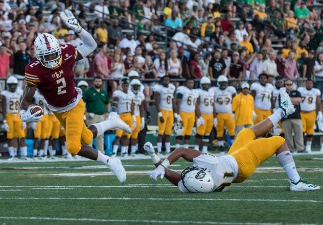 Wide receiver R.J. Turner (2) preserved ULM's 34-31 win over Southeastern Louisiana by blocking a game-tying field goal with three seconds to play on Thursday night at JPS Field at Malone Stadium.