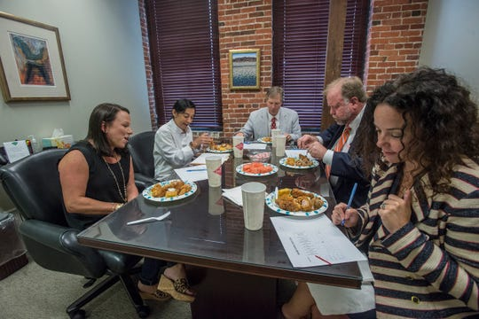 U.S. Rep. Martha Roby, left, and chef Missy Mercer were among the official judges for the chicken competition. The Montgomery law office of Balch & Bingham hosted Drumstickpalooza on Thursday, Aug. 30, 2018, a competition between local restaurants to determined who makes the best drumstick in the River Region.