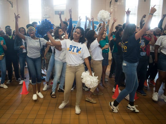 "The senior class reacts to getting the spirit stick after the ""most turnt"" competition during a pep rally at BTW Magnet School at Hayneville in Montgomery, Ala., on Friday, Aug. 31, 2018."