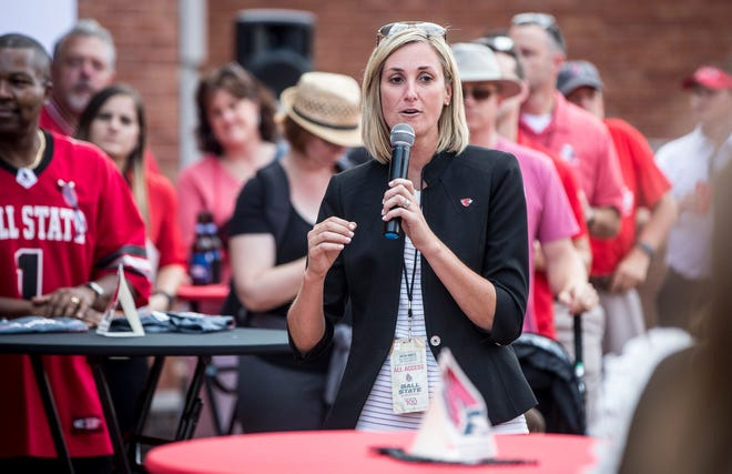 Ball State athletic director Beth Goetz, shown here before the season opener against Central Connecticut State, said she has confidence in the direction of the football program.