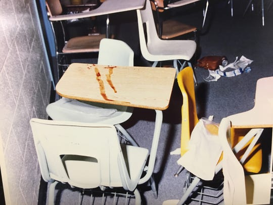 "On April 21, 1994, some blood from teen shooting victim Terrance Murray landed on a desktop at John Trotwood Moore Middle School in Nashville. Murray died when a classmate accidentally fired a handgun he was playing with while students were watching a video of ""Beauty and the Beast."""